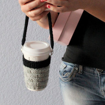Knit coffee cozy. Coffee cup sleeve. Coffee cup holder Coffee cup cozy Travel mug cozy Travel mug sleeve Starbucks cup hands free carrying