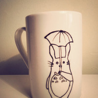 Totoro and umbrella  mug by MrTeacup by MrTeacup on Etsy