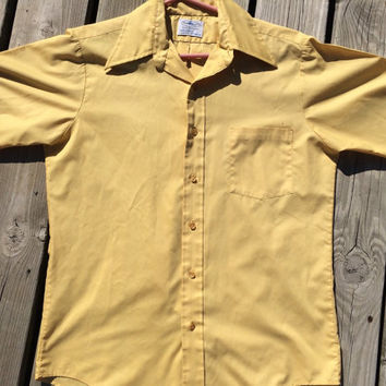 Vintage 1960's Yellow Mens / Mad Men/ Penneys Towncraft Plus Penn-Prest Dress Shirt