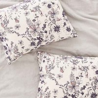 Plum & Bow Scattered Flowers Sham Set