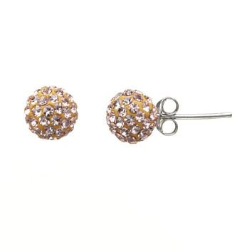Sterling Silver Champagne Crystal Ball Stud Earrings (Brown)