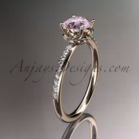 14kt rose gold diamond floral wedding ring, engagement ring with Morganite center stone ADLR92