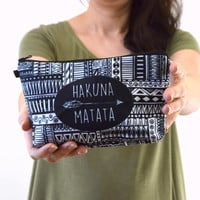 Hakuna Matata Aztec Print Zippered Cosmetic Bag, Make-up Bag, Toiletry Bag, Pouch