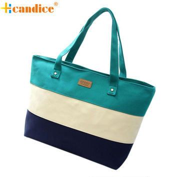 Hcandice Striped Canvas Handbags For Women F-