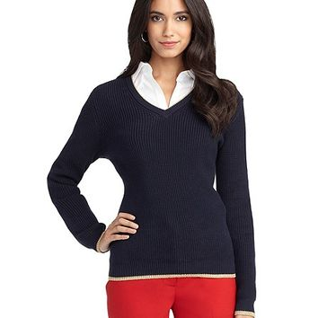 Long-Sleeve V-Neck Supima® Cotton Sweater - Brooks Brothers