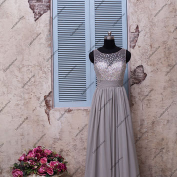 Sequins Rhinestone Beaded O Neck Long Grey Bridesmaid Prom Dresses/prom dresses/prom dress/bridesmaid dresses/bridesmaid dress/evening dress