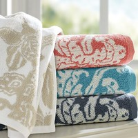 ROBYN PALAMPORE JACQUARD ORGANIC 600-GRAM WEIGHT BATH TOWELS