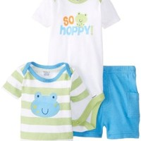 Gerber Baby-Boys Newborn 3 Piece Boys Set Shirt Short and Bodysuit, Frog, 3-6 Months