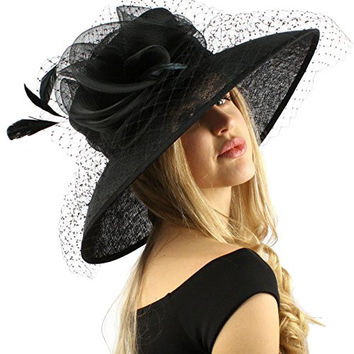 "Elegant Dome Simamay Feathers Overlay Netted Derby Floppy 6"" Brim Dress Hat Black"