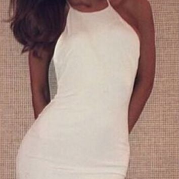 White Halter Neck Backless Bodycon Midi Dress