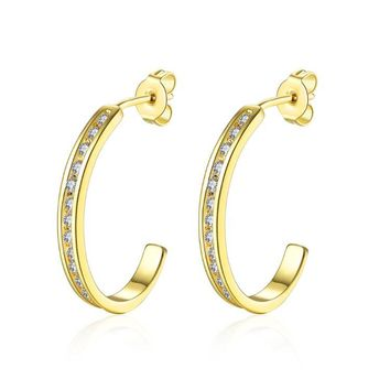Golden NYC 18K Gold Plated Huggies Earring-Crown Pave