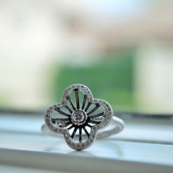 Art Deco Ring - Silver Flower Ring - Clover Ring - Sterling Silver Ring - Micro Pave Ring