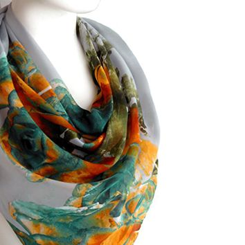 BUY ANY 3 GET 1 OF THEM FREE, romantic gift, gift for her, girlfriend gift, large cotton scarf, gray orange scarf, unique gift ideas, large square scarf, christmas gift,