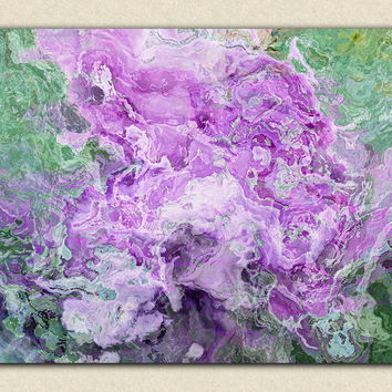"Large abstract expressionism on stretched canvas, 30x40 to 40x54 canvas print in lilac and green, ""Purple Haze"""