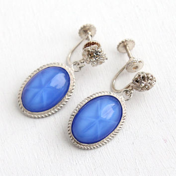 Vintage Sterling Silver Simulated Sapphire Star Clip On Dangle Earrings - Art Deco 1930s Screw Back Blue Glass Cabochon Jewelry