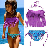 Toddler Girls Tassel Swimwear Bikini Set Swimsuit Bandeau Bikini Fringe Biquini Brazilian Bathing Suit Girls Swimwear Biquini