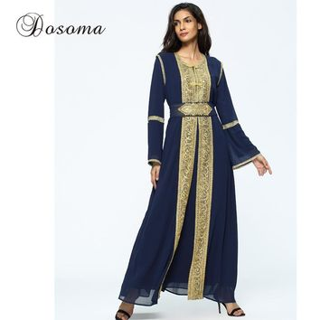 Muslim Golden Trim Embroidery Maxi Dress Chiffon Abaya Suit Cardigan Long Robe Ramadan Middle East Islamic Arab Prayer Clothing