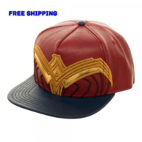 DC Comics Wonder Woman Suit Up Applique Snapback Cap Hat NEW Faux Leather