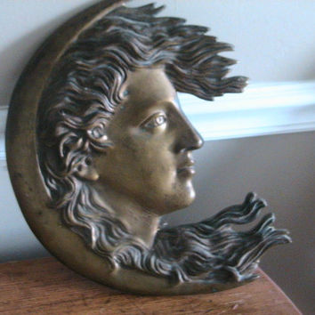 Vintage Bronze Celestial Moon of Womans Face Wall Hanging from 1900's Art Deco