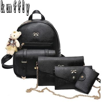 KMFFLY new 4Pcs/Set Women Pu Leather Fashion Backpack Famous Brand School Bags for Girls sac a dos femme with Purse Vintage Bear