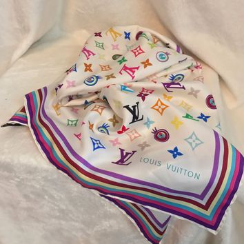 "NIB LOUIS VUITTON White Multicolor ""EYE"" Monogram 100% Silk Scarf, 27"" Square"