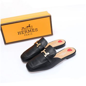 HERMES Popular Women Personality Metal Letter Buckle Half Slipper Sandals Shoes
