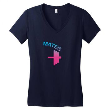 Swole Mates Couple Design Women's V-Neck T-Shirt