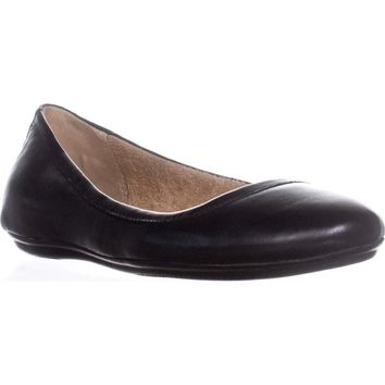 Naturalizer Brittany Round Toe Ballet Flats, Black Leather, 7.5 W US