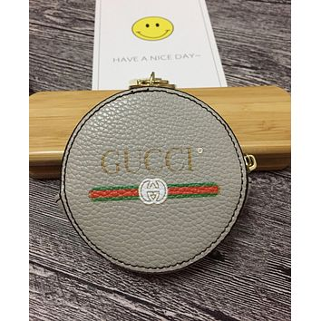 GUCCI Trending Stylish Multicolor Round Leather Zipper Key Pouch Wallet Coin Purse Grey I-MYJSY-BB