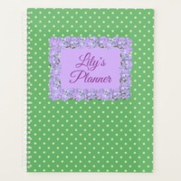 Your Name Green Dots & Lavender Print Planner