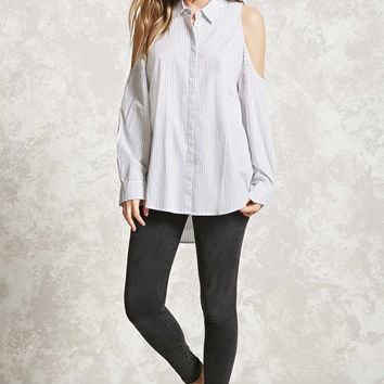Pinstripe Open-Shoulder Top