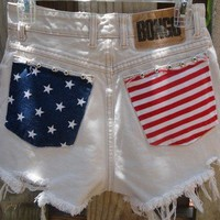 Vtg 80s High Waisted FESTIVAL American Flag Studded BONGO Cut Off Shorts Frayed