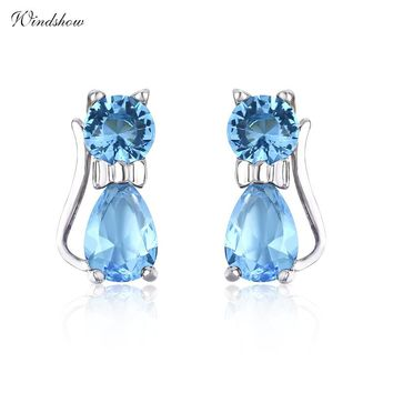 925 Sterling Silver Cute kittens Kitty Cat Blue Crystals Small Stud Earrings For Women Girls Kids Child Jewelry Anti-Allergic