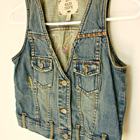 SALE - Studded & Distressed Denim Vest w/ Embroidery