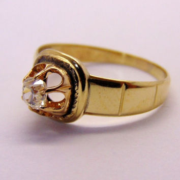 Antique Old Mine Cut Diamond Engagement Ring 14k Gold Promise Ring Victorian Wedding Ring Estate Solitaire