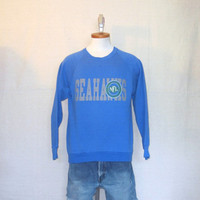Vintage 80s SEATTLE SEAHAWKS GRAPHIC Soft Unisex Medium Rare 50/50 Jumper Crewneck Sweatshirt