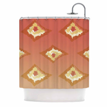 "Alison Coxon ""Coral Ombre Ikat"" Orange Yellow Shower Curtain"