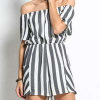 Casual Off Shoulder Elastic Waist Striped Modern Bootcut Romper