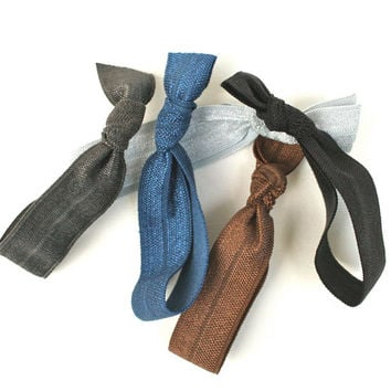 Ribbon Hair Ties (5) Women's No Crease Hair Tie - Fabric Hair Bands - FOE Hair Tie Accessories - Knotted Hair Tie Ponytails - Holiday Gift