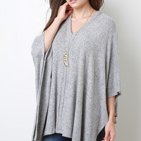 Soft Knit V-Neck Poncho Top