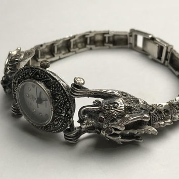 Antique Sterling Silver Double Dragon Articulated Wrist Watch / Vintage Art Deco Chinese Dragon Watch / 925 Marked Silver Artisan Watch