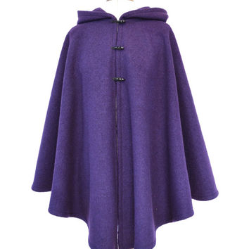Hooded Cape, Purple Wool Cape, Boiled Wool Cloak, Hooded Cloak, Plus Size Cape Coat, Wool Hooded Coat, Wool Poncho, Medieval Cloak