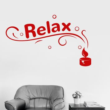 Vinyl Wall Decal Relax Spa Candle Beauty Salon Woman Girl Stickers Unique Gift (ig3429)