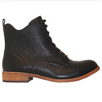 Kork-Ease Yoni - Black Leather Oxford Lace-Up Bootie