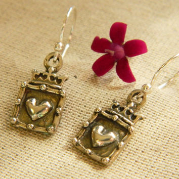Sterling Silver Heart Dangles, Heart Earrings, Silver Heart Charms, Valentines Gifts for Her, Hearts, Heart Designs, Silver Hearts