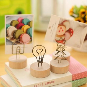 1 x Vintage wooden desktop figurines wrought iron message note clip to clip pictures photo holder Home decor Arts crafts gift