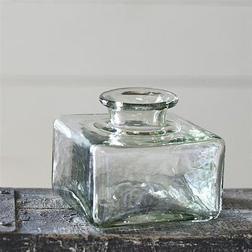 "Modern Recycled Glass 4"" H Square Vase"