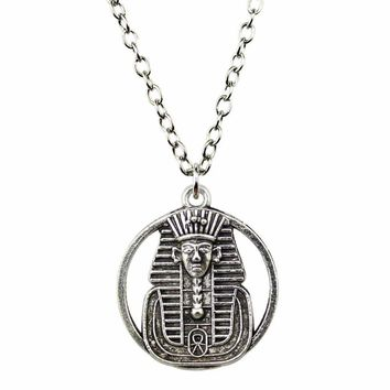 Double Sided Egyptian Pharaoh Pendant Link Chain Necklace For Women