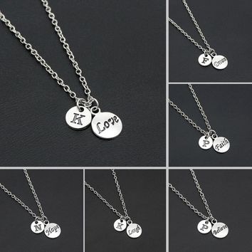 Fashion Love Hope Dream Believe Faith Laugh Necklace Alphabet Letters Women Girls Chain Necklace Friendship Gifts With Card