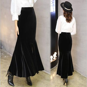 2017 High End Wine Red Woolen Skirt Women's Ruffles Trumpet Mermaid Skirts Autumn And Winter Asymmetry Office Lady Skirts Saia